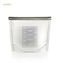 White Reusable Silicone Food Storage Fridge Bags 1000ml