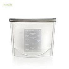 White Reusable Silicone Food Storage Fridge Bags 1000ml