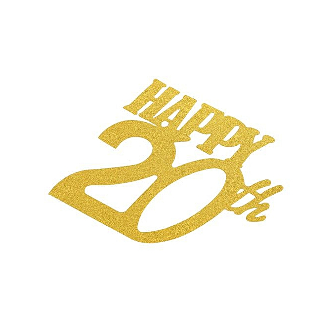 1pc Gold Happy 20th Topper Glitter Silhouette Wedding Cake Birthday Party