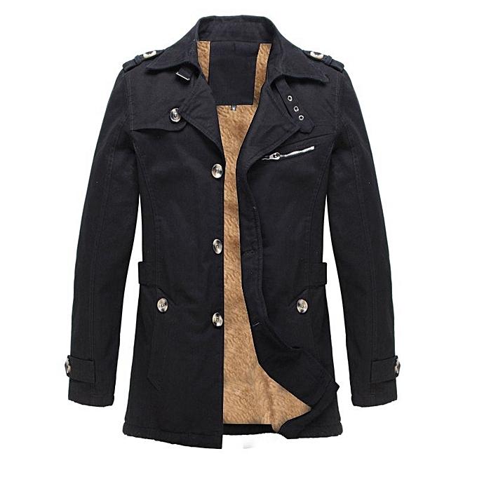 7c8d3439922 Winter Mens Fleece Coat Warm Thicken Jacket Long Overcoat Slim Casual Jacket  (Black)