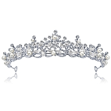 bridal crown jewelry White bride crown hair accessories