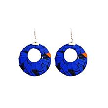 Blue Circular Wide(Large) Earrings