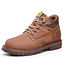 Spring Autumn Men Outdoor Hiking Mountain Climbing Shoes Leather Men Trekking Shoes Waterproof Wearable - Brown