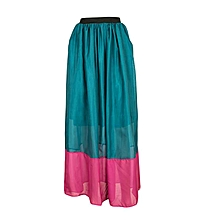 Teal And Pink Chiffon Maxi Skirt
