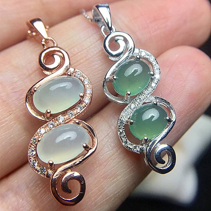 Colourful Treasure Jewelry 925 Silvers Inset Natural Jadeite