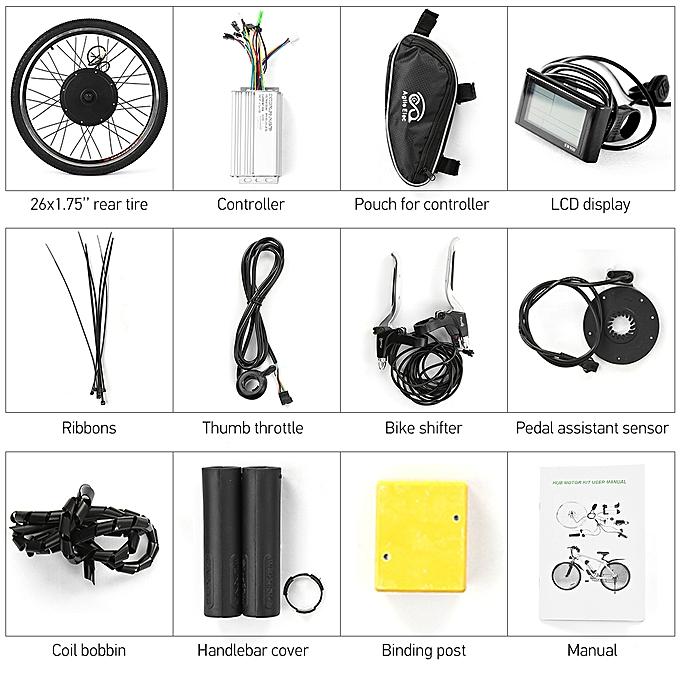 26x1 75'' Electric Bike Conversion Kit Bike Rear Wheel Hub Motor Kit 48V  1000W Powerful E-Bike LCD Display Motor Kit Brushless Controller PAS Signal