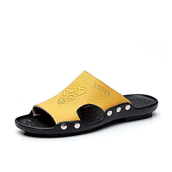 fa0094efa3c ... S-4066 Fashion Summer Men Leather Stylish Tiger Pattern Special Sole  Beach shoes Slippers Sandals ...