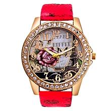 Rose Pattern Leather Band Analog Quartz Vogue Wrist Watches RD