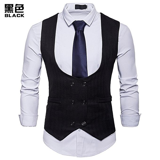 2851bdc4c31c1 Double Breasted Men Vest Brand New Solid Color Sleeveless Waistcoat Men  Wedding Tuxedo Suit Dress Vest