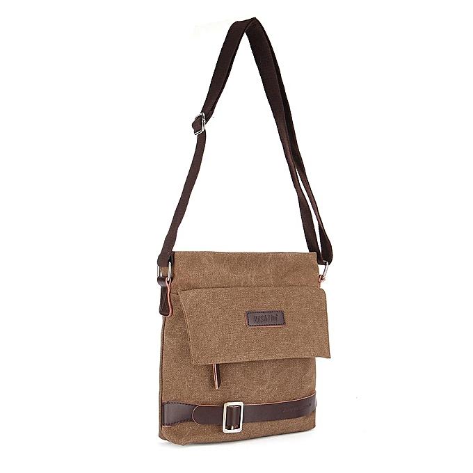 Men S Vintage Canvas Messenger Shoulder Satchel Laptop Crossbody School Bag Zip Coffee