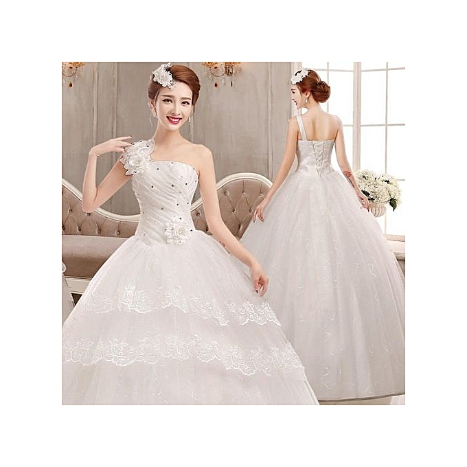 Buy Fashion Luxury Long Tail Wedding Dress Lace Wedding Gown Crystal ...