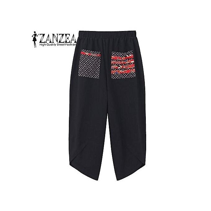 6f438c384c480 ZANZEA Autumn Women Polka Dot Retro Print Pockets Loose Elastic Waist  Cotton Linen Harem Pants Leisure Long Trousers Plus Size Pantalon Black