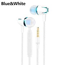 Wired Earphone Electroplating Bass Stereo In-ear Headphone for Android iOS blue