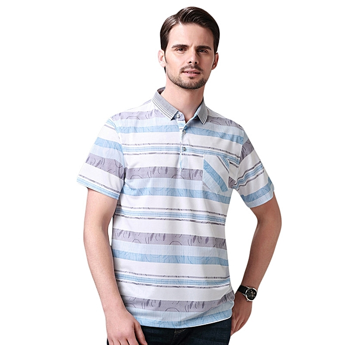 d5014572c6cc Mens Fashion Striped Silk Soft Short-sleeve Golf Shirt Summer Slim Fit Thin  Breathable Tops ...