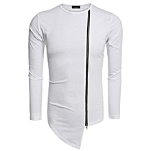 COOFANDY Men Fashion Round Neck Long Sleeve Zipper Irregular Hem Streetwear Hip Hop Style T Shirt ( White )