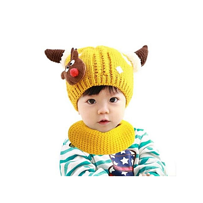9530232e017 Braveayong Christmas Baby Cartoon Hats Baby Hats Hat Scarf Winter Autumn YE  -Yellow