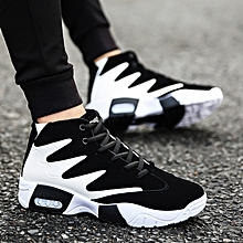 Men's Shoes Autumn And Winter Mixed Colors Sports Shoes Increased High Help Shoes-Black and white