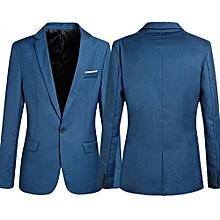 Men's Slim Formal Business Suit Coat One Button Lapel Long Sleeve Pockets Top-Blue