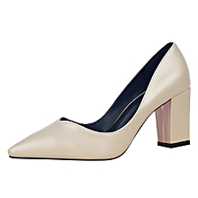 7cm Formal Pumps Women Point Shallow Square Heels Casual Shoes (Apricot)