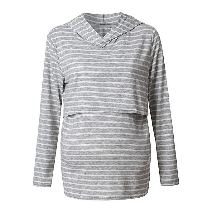 02608b90e725e Women's Nursing Hoodie Long Sleeves Striped Tops Breastfeeding Hoodie  Sweatshirt