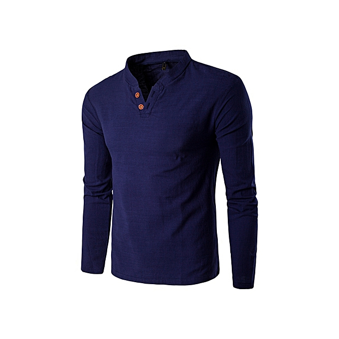 88fc7c9c5 Mens Casual Linen V-neck Chinese Collar Long Sleeve T-shirt Fashion Tops