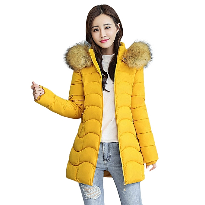 018d8dae5 jiuhap store Women Winter Warm Coat Faux Fur Hooded Thick Warm Slim Jacket  Long Overcoat-Yellow