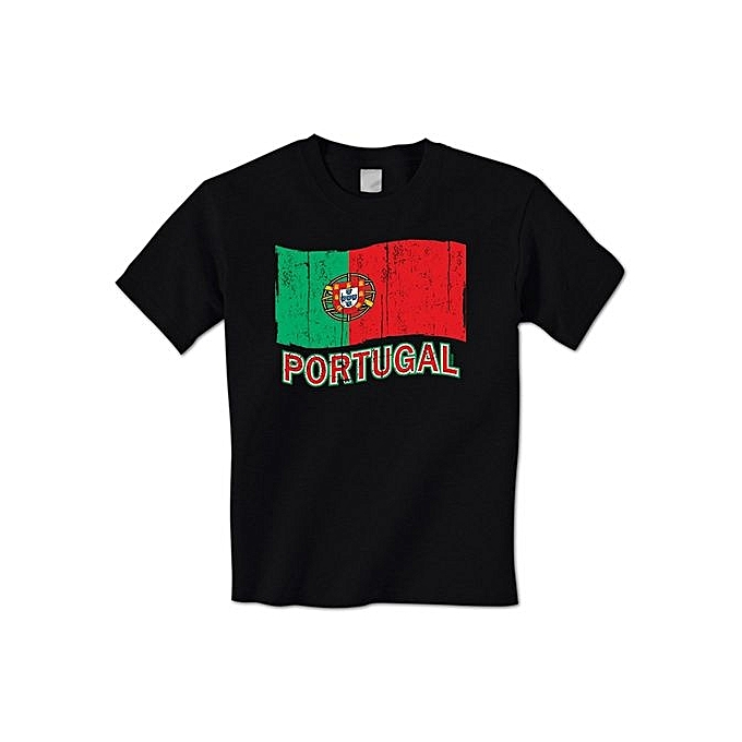 f865c8e3 DIY Cotton Funny Tee Shirts Portugal Distressed Waving Portuguese Flag  National Pride Country Mens T-