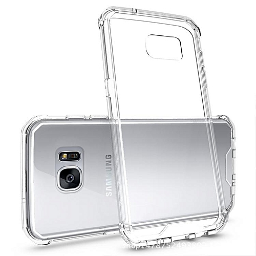 finest selection 48496 bc49b For Samsung Galaxy S7 Edge Transparent Silicone Phone Case Anti-drop  Silicone Case Acrylic Frame + Silicone Transparent Back Cover + Transparent  Air ...