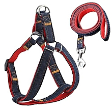 Pet Dog Puppy Leash Denim Harness Collar Adjustable Walking Rope Chain