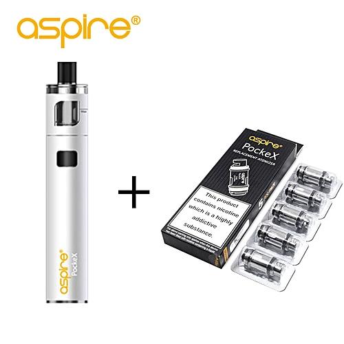 E-Cigarette Kit Aspire PockeX Pocket AIO Kit Capacity + 5pcs 0 6ohm Aspire  PockeX Coil Vaporizer Electronic Cigarette Vape Pen (White)