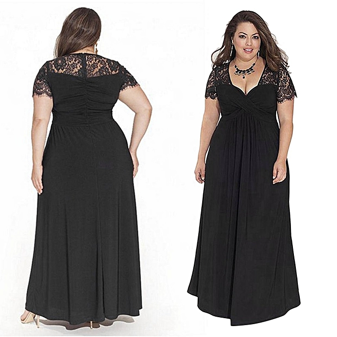 Tb Fashion Plus Size V Neck Summer Lady Dress Sexy Lace Fat Girls Evening Black