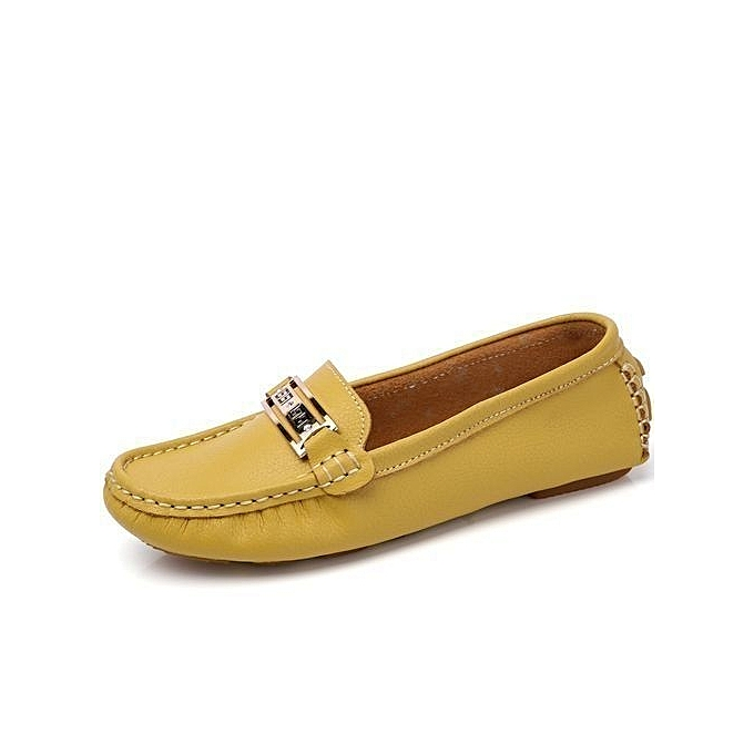 f288bdcc246 Women s Casual Loafers Genuine Leather Driving Moccasins Slip-On Flat Shoes -yellow