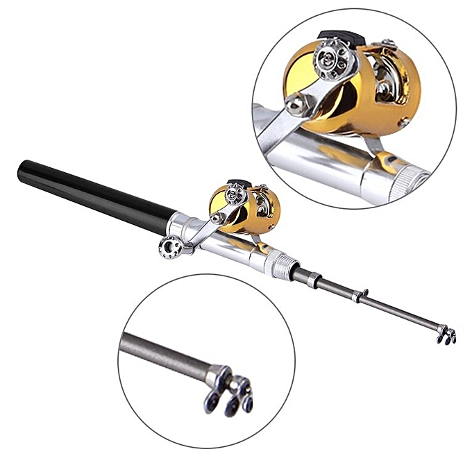Mini Portable Aluminum Alloy Pocket Pen Shape Fish Fishing Rod Pole With Reel .