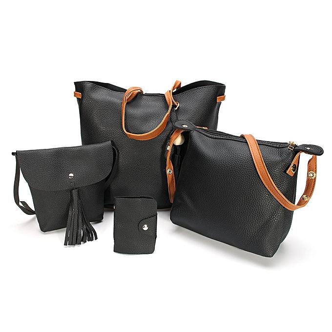14eebf4679 4pcs Women PU Leather Handbag Shoulder Bag Tote Purse Messenger Satchel  Clutch ...