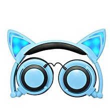 Foldable Flashing Glowing Cat Ear Headphones Wired Video Gaming Headset Hifi Stereo Mp3 Music Player Walkman Earphone Blue