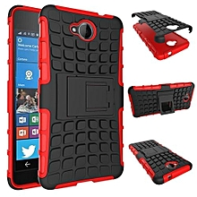 "For Nokia N650 Case, Hard PC+Soft TPU Shockproof Tough Dual Layer Cover Shell For 5.0"" Microsoft Lumia 650, Red"