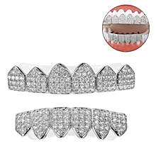 Silver Plated Custom Slugs Hip Hop Top Bottom Grillz Mouth Teeth Grills Set