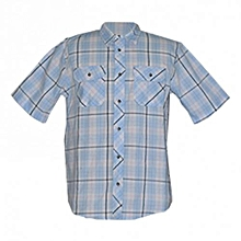 Blue Tile Short Sleeved Men's Shirts