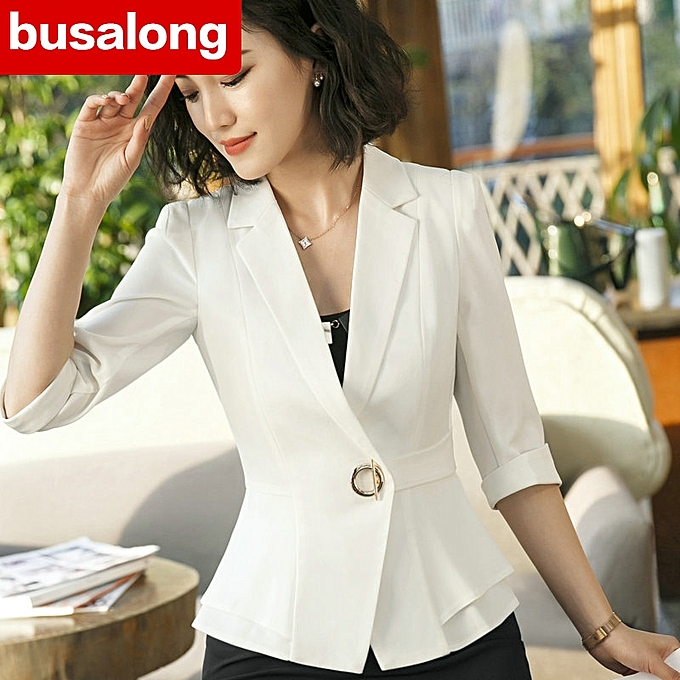 047a7aadd364 New style Sleeve Professional Pants Formal Office Lady Tops-white+black-S