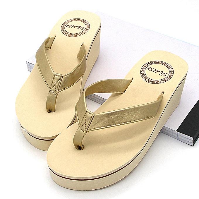 98d9102fa57 Nis Women Wedge Thong Flip Flops Platform Mid Heel Sandals Beach Casual  Shoes