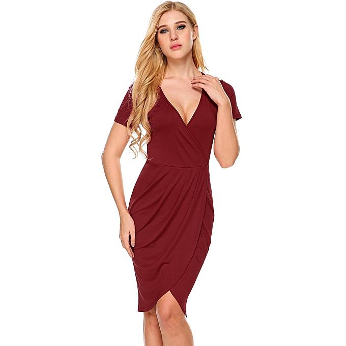 TOPRANK Women s Deep V-Neck Short Sleeve Faux Wrap Split Bodycon Dress (  Red ) 255fdee49