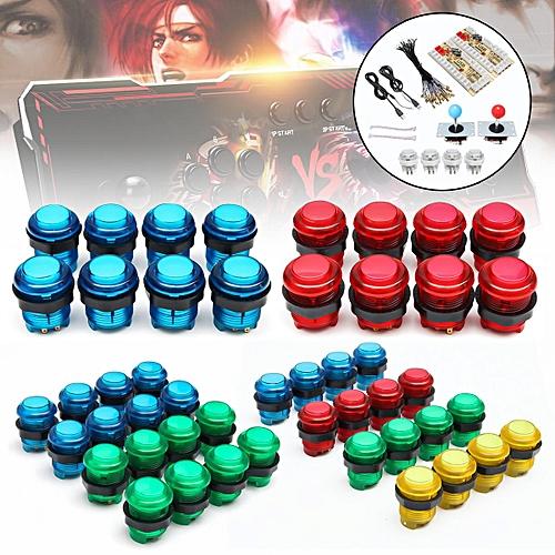 20 LED Arcade Full Colors Switch Buttons + 2 Joysticks + 2 USB Encoder DIY  Kit