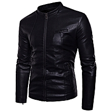 Stand Collar Thick Faux Leather PU Motor Jacket for Men
