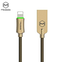 CA - 390 Knight Series 8 Pin 2.4A  Auto Disconnection Data Sync Cable With Flashlight 1.8M - Golden