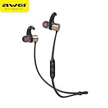 AWEI AK1 Bluetooth Earphone Wireless headset Cordless Headset Sport Earpiece Stereo Headfone For Phone Kulakl k With Magnetic(Gold)