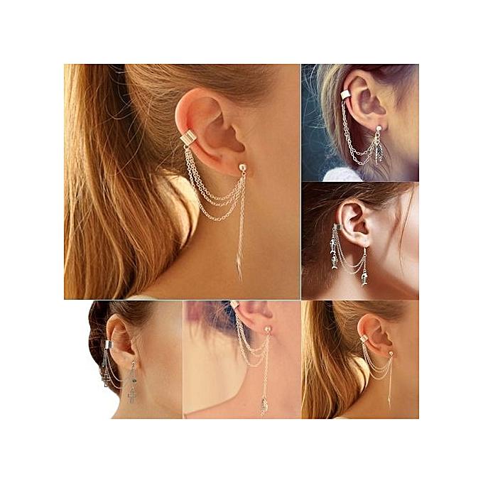 1pc Punk Tels Chain Leaf Fish Cross Charms Ear Stud Cuff Earring Jewelry Gift