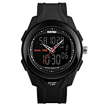 1157 Men Sport Dual Display Digital Quartz Watch Brand Outdoor Sports LED Waterproof Wristwatches - Black