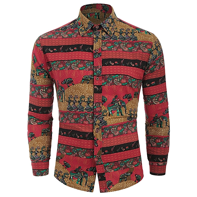 79dd8c9de99abf Fashion Ethnic Tribal Print Long Sleeves Shirt-RED   Best Price ...