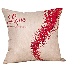 Happy Valentine Pillow Cases Linen Sofa Cushion Cover Home Decor Pillow Case