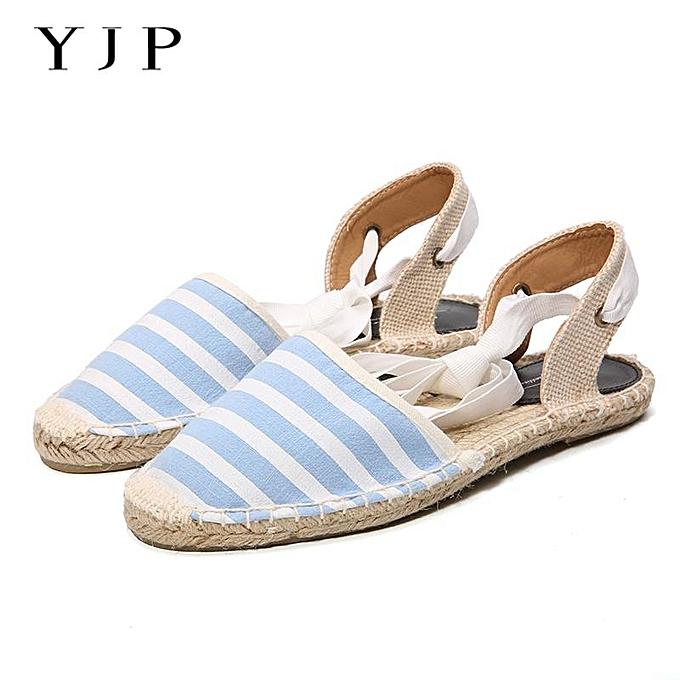 YJP Women Canvas Espadrilles Ladies Ankle Strap Hemp Bottom Fisherman Shoes 45534c3c9f4b